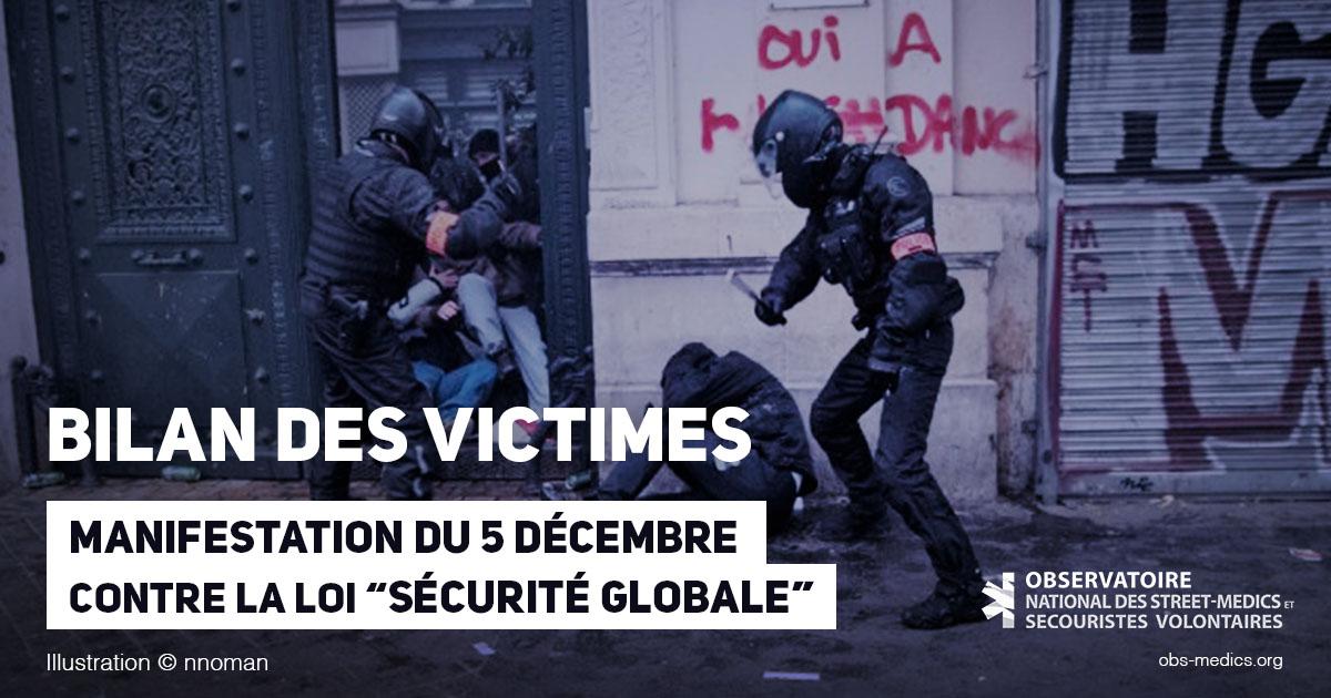 Bilan des victimes - Manifestation du 5 décembre contre la loi Sécurité Globale